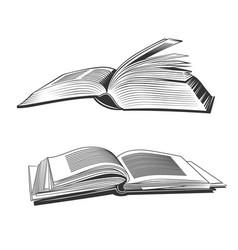 open books black silhouettes vector image