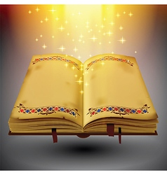 open magic book with light and sparkles vector image
