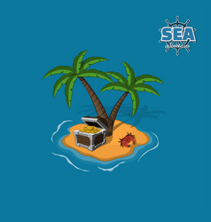 Pirate island with treasures on a blue background vector