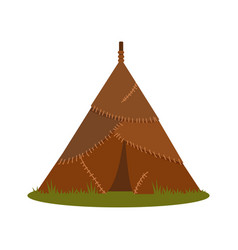 Prehistoric house made of animal skins element of vector