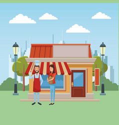 restaurant and people vector image