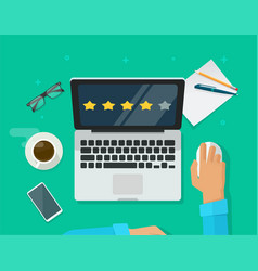 review rating testimonials online on laptop vector image