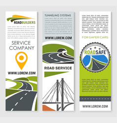 Road banner set with highway bridge and tunnel vector