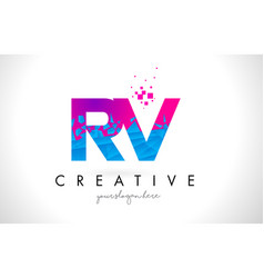 Rv r v letter logo with shattered broken blue vector