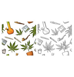 seamless pattern with marijuana leaf vintage vector image