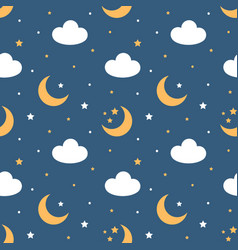 seamless pattern with moon stars and clouds vector image