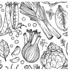 Seamless pattern with nature mediterranean vector