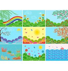 Set nine various locations and seasons vector