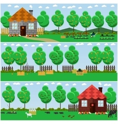 set of countryside concept backgrounds with vector image