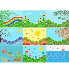 Set of nine various locations and seasons vector