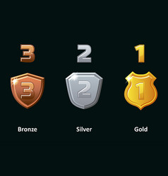set silver gold and bronze shield awards vector image