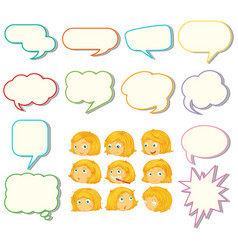 set speech balloon and girl expression vector image