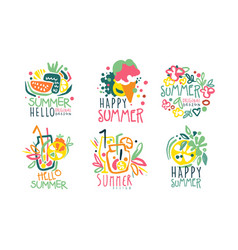 Set summer logos with lettering vector