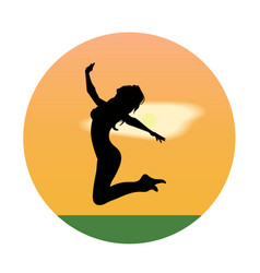 Silhouette of a young girl jumping at sunset vector