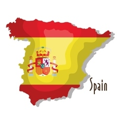 Spain map with flag isolated icon design vector
