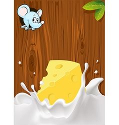 Splash of milk with cheese mouse peeking wood vector