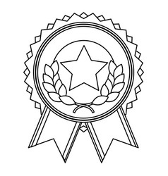 star laurel badge banner ribbon decoration vector image