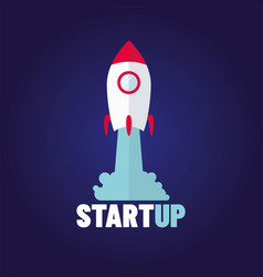 startup - flat design rocket launch and smoke vector image