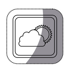 Sticker monochrome square frame with cloud and sun vector