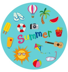 Summer theme with many objects vector