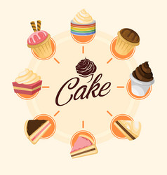 sweet cake inforgraphic design vector image