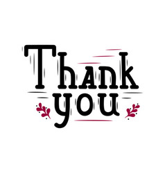 thanks lettering in black and red with decor vector image