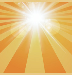 the sun radiation retro orange background vintage vector image