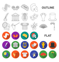 theatrical art flat icons in set collection for vector image
