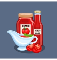 Tomato sauce bottle and saucers vector
