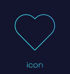 Turquoise line heart icon isolated on blue vector
