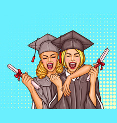 Two pop art excited girls graduate student in a vector