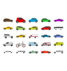 urban city car flat icons vector image