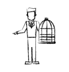 Vet man with bird cage empty veterinary concept vector