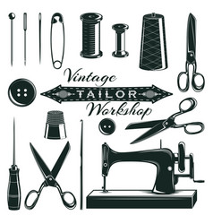 Vintage tailor elements set vector