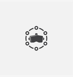Vr platform base icon simple sign vector