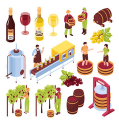 winery isometric set vector image