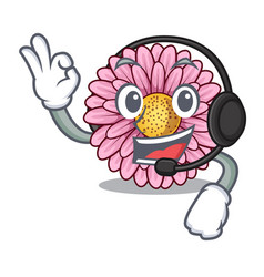 With headphone gerbera flowers in the cartoon vector
