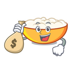 With money bag cottage cheese character cartoon vector