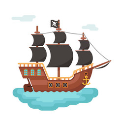 Wooden pirate buccaneer filibuster corsair sea dog vector
