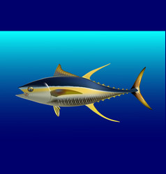 Yellow fin tuna realistic sea fish on white vector