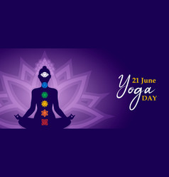 Yoga day meditation banner person in lotus pose vector
