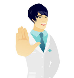 Young asian doctor showing palm hand vector