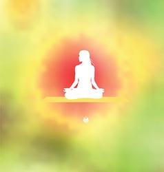 Meditation pose Blurred floral background vector image vector image