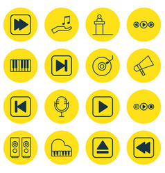 set of 16 audio icons includes piano start song vector image