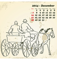 December 2014 hand drawn horse calendar vector image