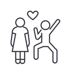 happy love couple linear icon sign symbol vector image