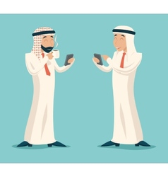 Arab Businessman Drink Coffee Tea Chat Mobile vector image