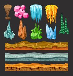 colorful game landscape elements set vector image vector image