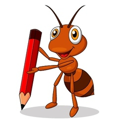 Cute ant cartoon with red pencil vector image vector image