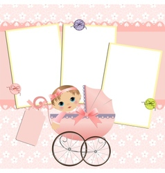 Cute template for babys card vector image vector image